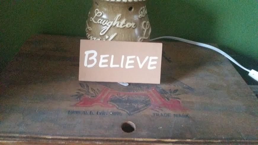 Believe Hand Painted Wood Shelf Sitter by SignsandDesignsbyAMA on Etsy