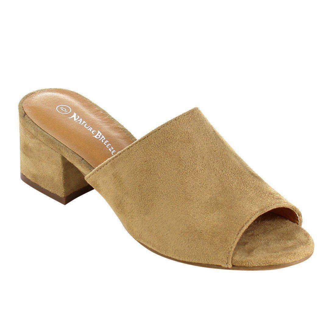744dc0c3a7 Betani FK51 Women s Peep Toe Ruffles Slip On Block Heel Mule Sandals in  2019