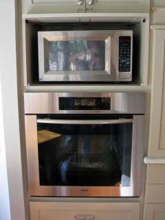 Countertop microwave in cabinet instead of built in. Cabinet door ...