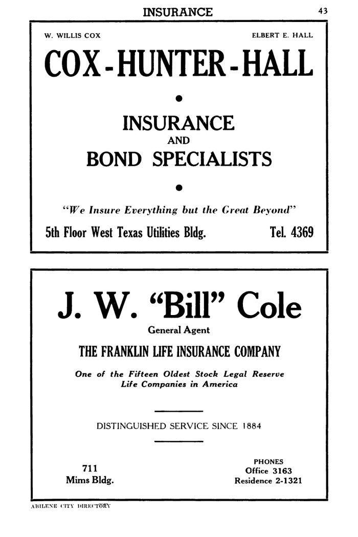 1946 Ad Life Insurance Companies Taylor County Abilene