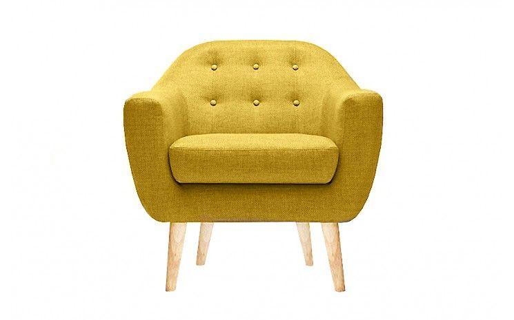 fauteuil scandinave jaune moutarde THEO