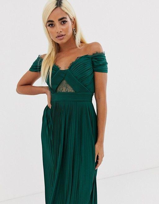 ASOS DESIGN Petite lace and pleat bardot midi dress | ASOS ...