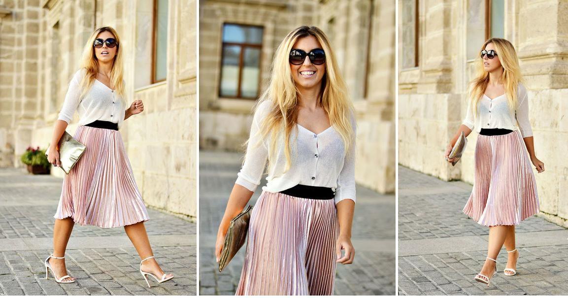 2abf8bfd0 Cómo combinar una falda rosa metálica, ¡el color de moda ...