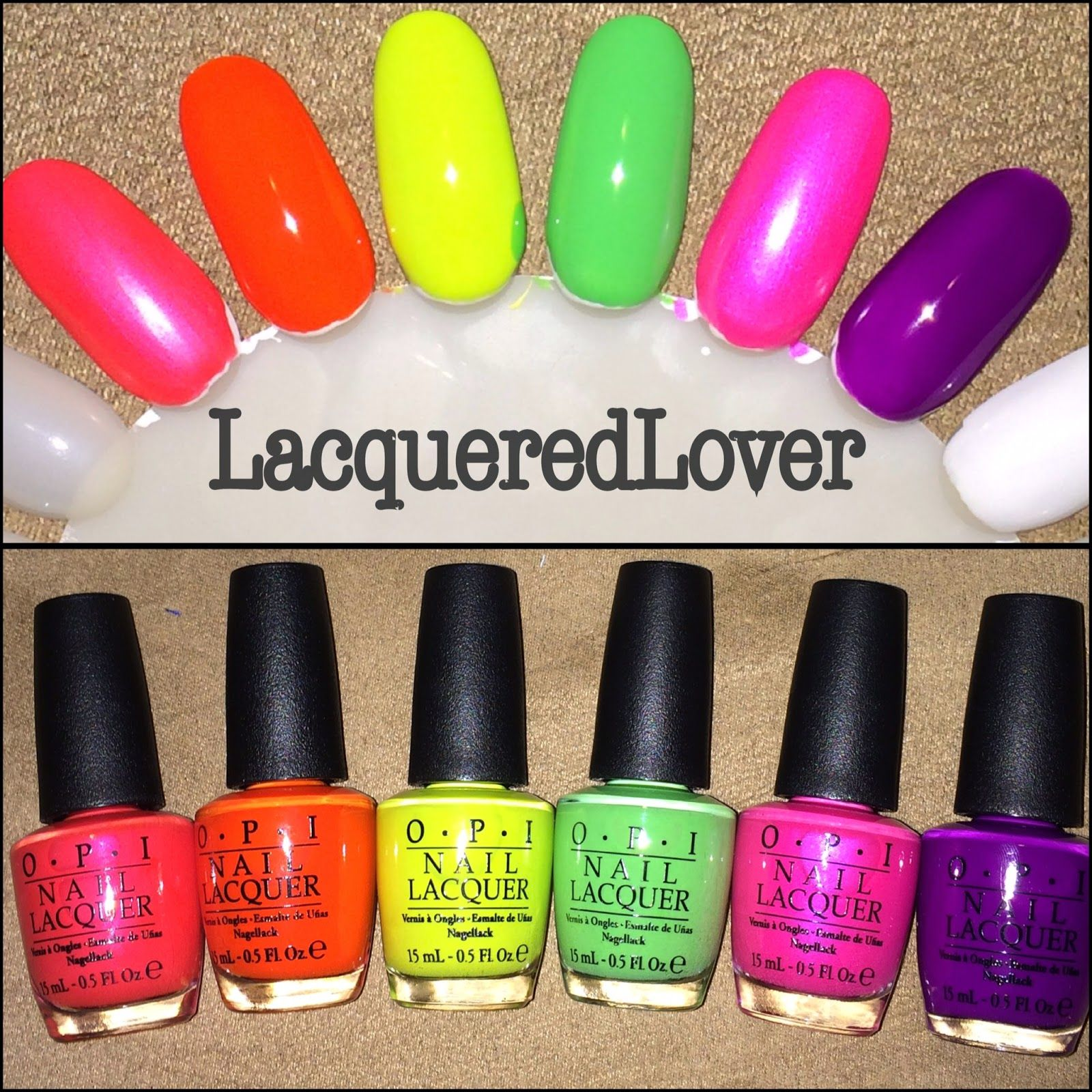 Lacquered Lover: OPI Neon Collection Nail Art!