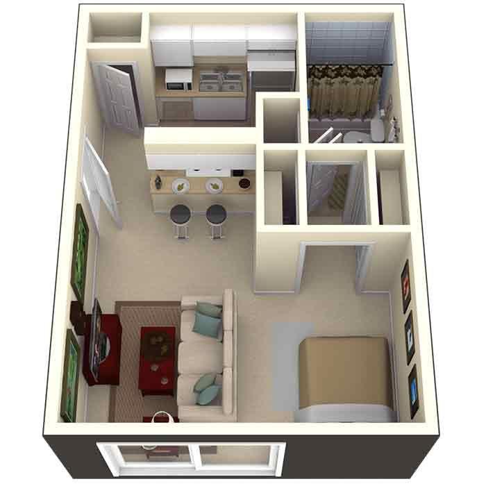 500 Sq Ft Studio Apartment In Tampa, FL