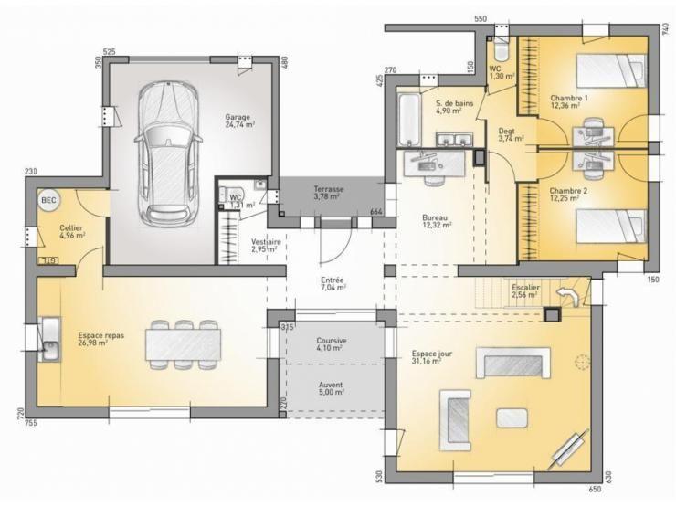 Plans de maison : RDC du modèle Bioclima : maison moderne à étage de 160m2. 2 chambres + 1 suite ...