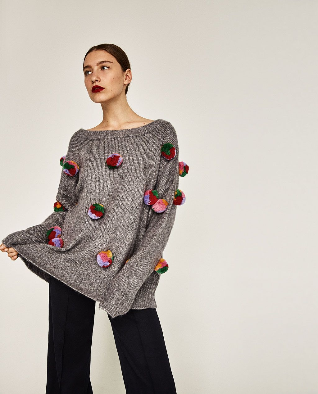 ZARA - WOMAN - OVERSIZED POMPOMS SWEATER | clothes ...