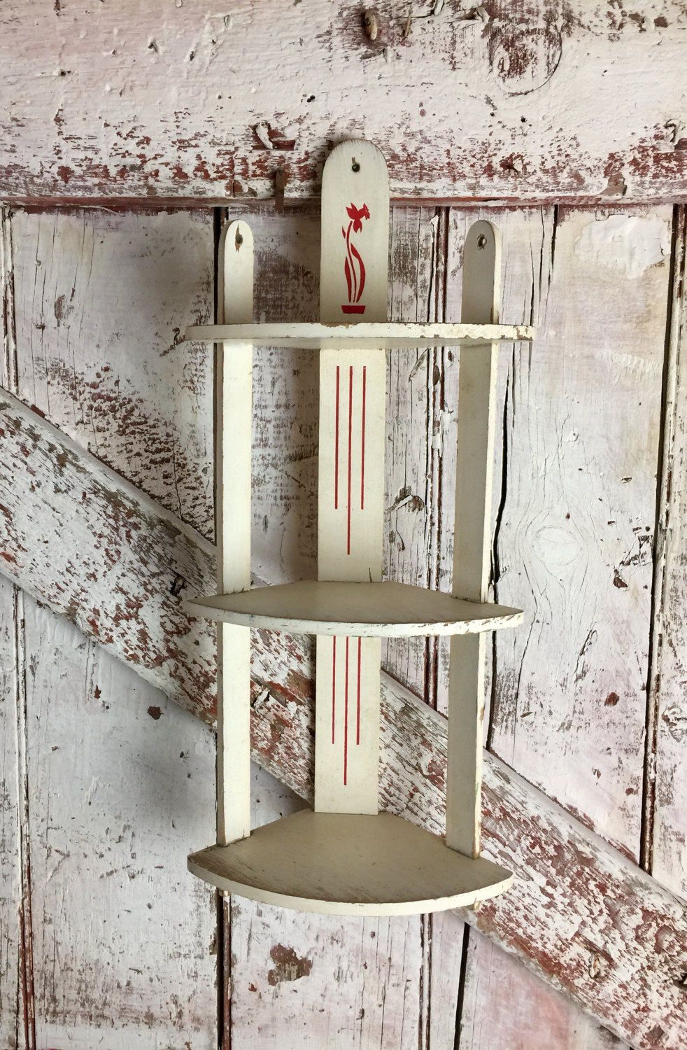 Vintage Kitchen Corner Wall Shelf White And Red Daffodil Knick Knack 3 Tier Wooden Wall Hanging By Corner Wall Shelves Wooden Wall Hangings Wooden Corner Shelf
