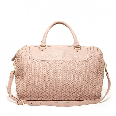 Women's Blush Vegan Leather Large Woven Weekender