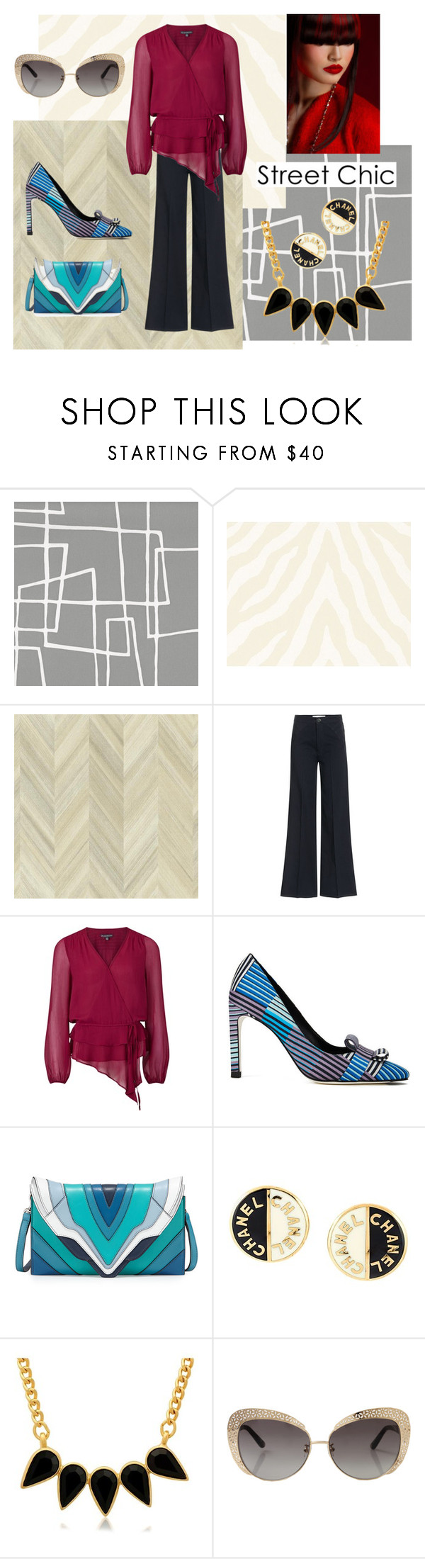 """Chiffon Wrap Blouse"" by dana-debanks ❤ liked on Polyvore featuring Graham & Brown, Thibaut, York Wallcoverings, dVb Victoria Beckham, Adrianna Papell, Paul Smith, Elena Ghisellini, Chanel, George & Laurel and Oscar de la Renta"