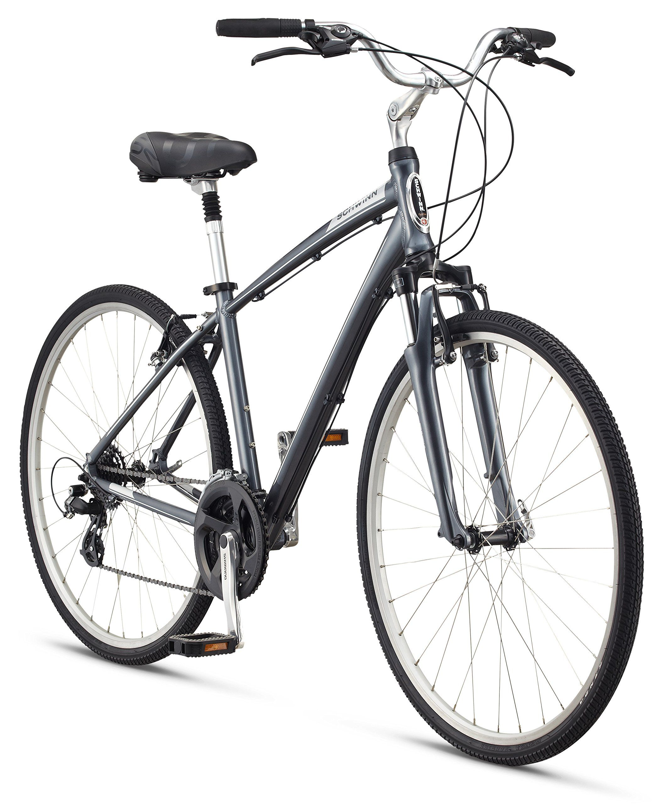 "Schwinn Men's Voyager 1 700C Wheels Hybrid Bicycle, Charcoal, 18""/Medium"