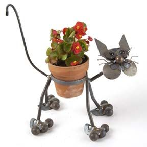 "cat flower pots pictures | Yardbird Flower Pot Holder: 4"" Cat with Glass Eyes"