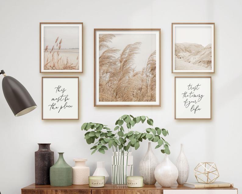 Neutral Boho Print Set, Printable Gallery Bundle, Modern Beige Wall Art, Pampas Grass, Beach Grass, Desert Mountain, Inspirational Quotes