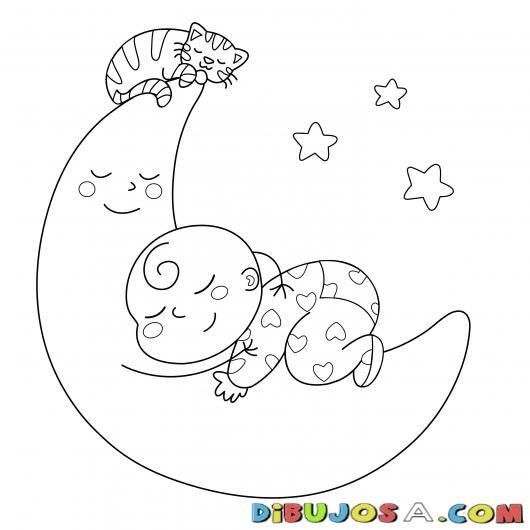 Bebe Y Gato Durmiendo Sobre La Luna Para Colorear