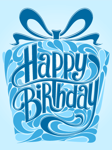029d90fbcdd93 Blue Gift Box Happy Birthday Card  Do you have a special man or boy in your  life who is celebrating a birthday  Use this Happy Birthday card to send  your ...