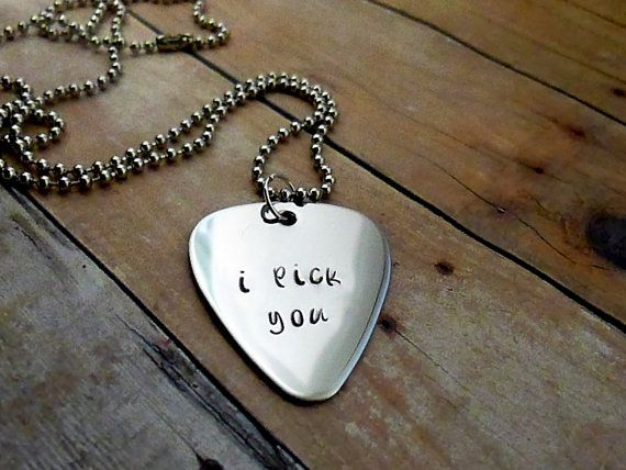 Personalized Hand Stamped Guitar Pick Necklace - I pick you -  mens necklace. $18.00, via Etsy.
