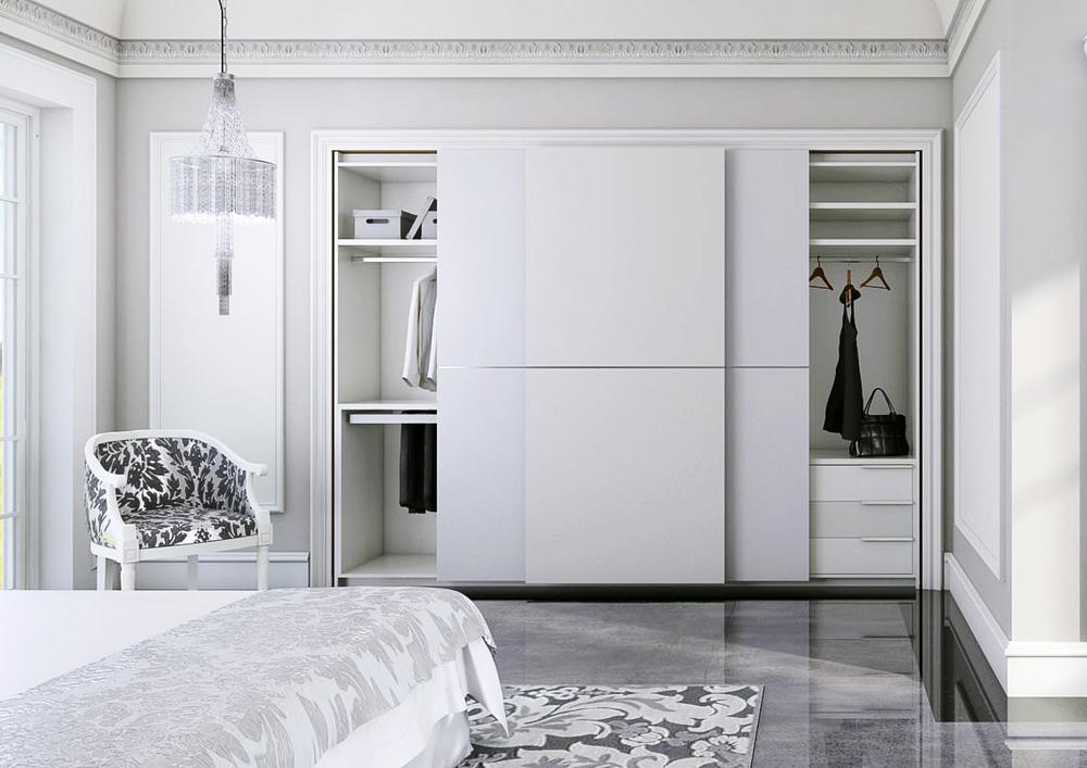 Armario merlot blanco serie costa de marfil armario empotrado apertura corredera exterior - Sistemas puertas correderas armarios ...