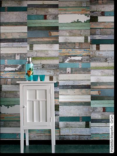 Bild: Tapeten - Holzstücktapete, Grün