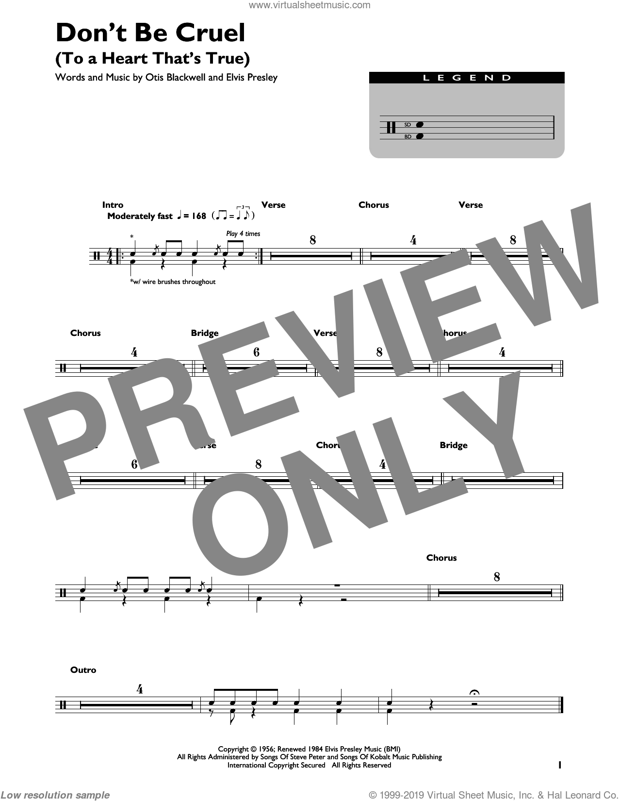 Presley Don T Be Cruel To A Heart That S True Sheet Music For Drums Percussions Drum Sheet Music Sheet Music Virtual Sheet Music