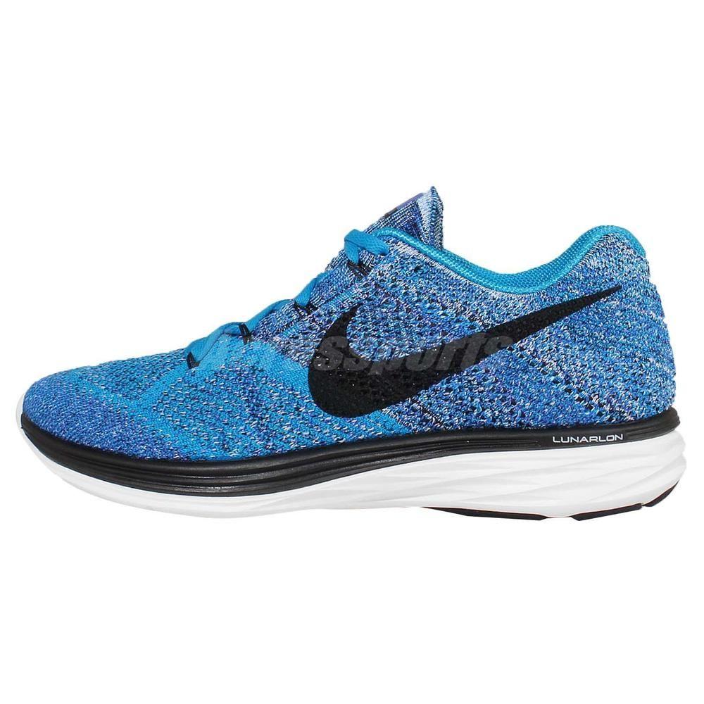 b892b4eca05e2f Nike Flyknit Lunar3 Blue Black Mens Running Shoes Sneakers Trainers 698181 -402