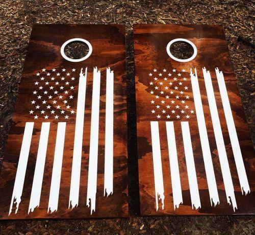 Vintage American Flag Cornhole Set With Bean Bags Via