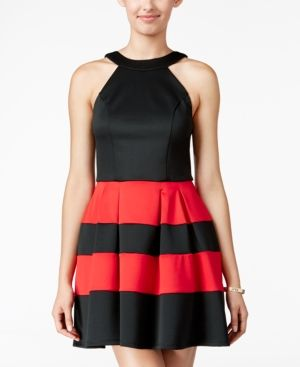 Crystal Doll Juniors' Colorblocked Scuba Fit & Flare Dress - Black/Red S
