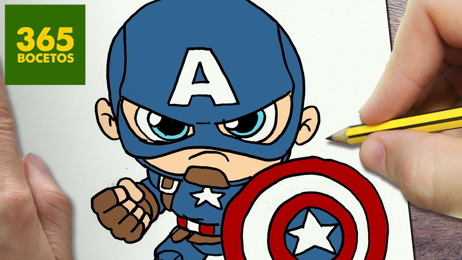 Como Dibujar Capitan America Kawaii Paso A Paso Dibujos Kawaii