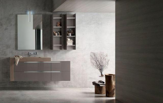 badeinrichtung INSIDE badmöbel hochglanz braungrau waschtisch - bad braun grau