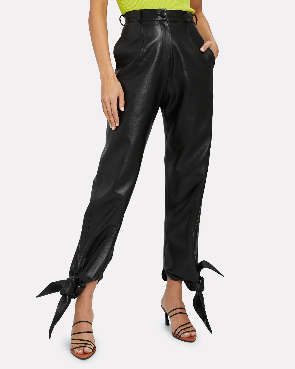 Vegan Leather Tie Ankle Pants In 2020 Ankle Pants Pants Vegan Leather