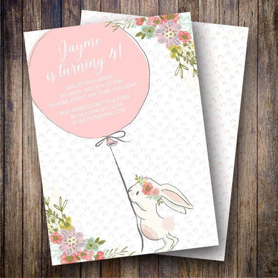 Bunny Birthday Party Invitation Balloons Boho Flowers