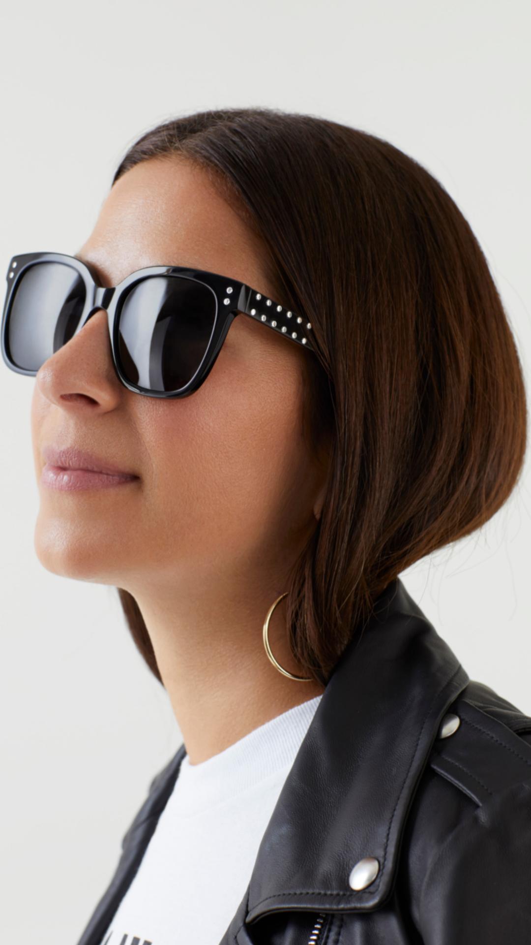 dde787295f Rebecca Minkoff wears the Cyndi Acetate Square Sunglasses from her  sunglasses collection.