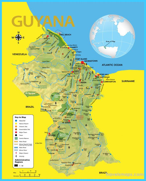 Where Is Guyana Located On The World Map.Awesome Map Of Guyana Romantic South America British Guiana Map