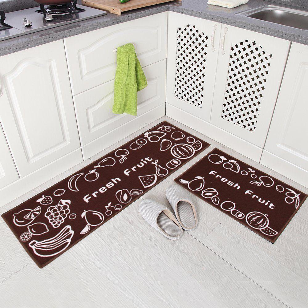Kitchen Mat Rubber Backing Doormat Runner Rug Set