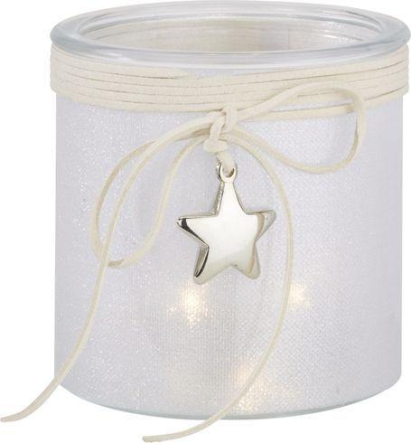 Stimmungsvolles weißes Windlicht mit LED Kerze - Schlichtes, elegantes Fest