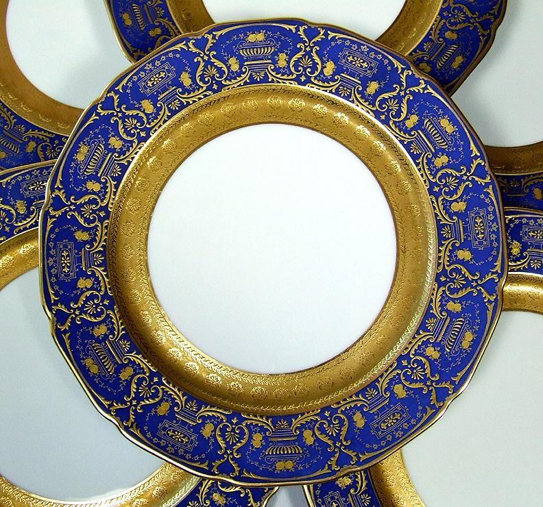 Stunning Set of 6 Limoges Porcelain Dinner Plates Raised Gold Encrusted \u0026 Cobalt Blue Borders & Stunning Set of 6 Limoges Porcelain Dinner Plates Raised Gold ...