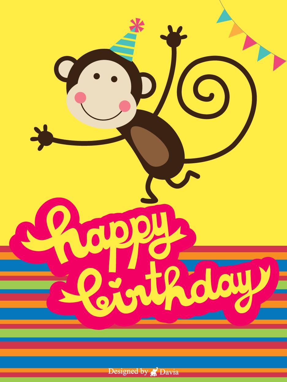 Cute Monkey Newly Added Birthday Cards Birthday Greeting Cards By Davia Birthday Cards Happy Birthday Woman Birthday Greetings