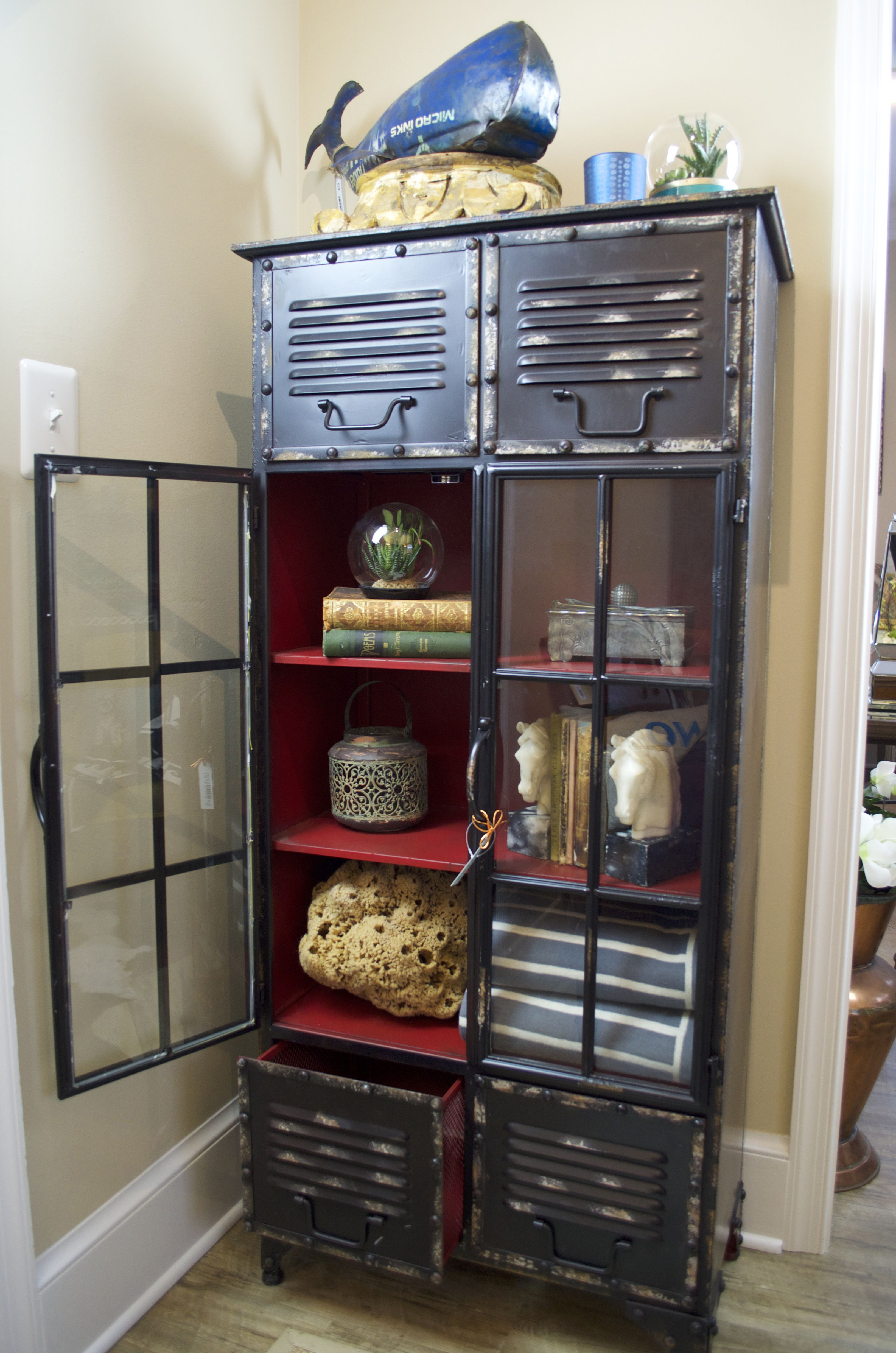 Black Metal Locker With Red Interior Home Decor Home