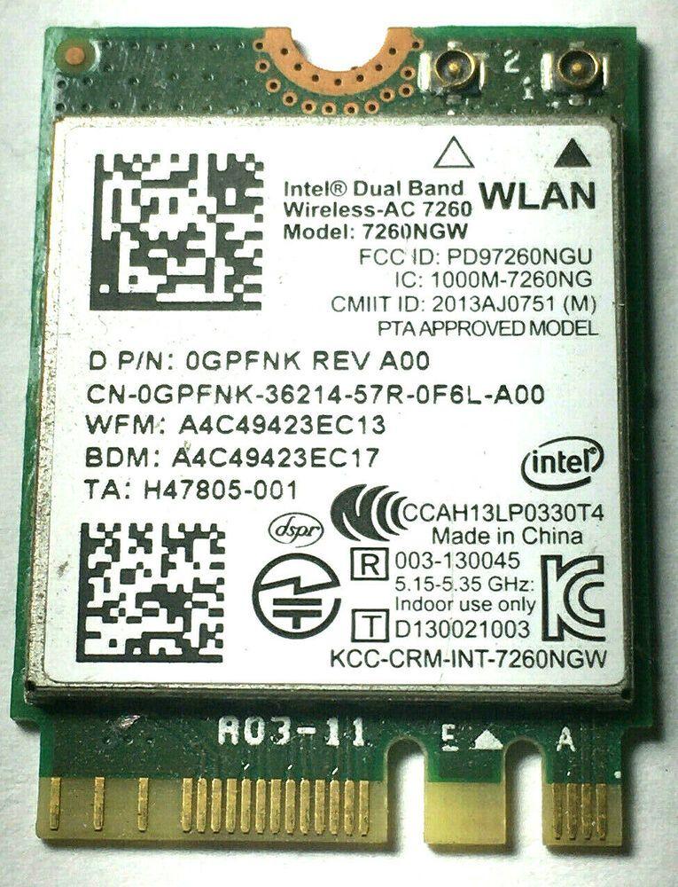 Dell Gpfnk Wireless Ac 7260 Wlan Wifi 802 11 Ac A B G N Bluetooth 4 0 Card Dell V 2020 G