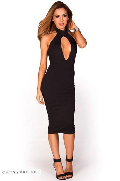 Carissa Black Plunging Cut Out Midi Length Halter Cocktail Dress