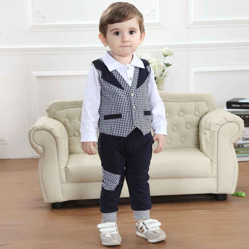 Spring children s clothing set baby boy formal black plaid three-piece suits  kids preppy costume boys gentlemen clothes 0-4T 89ade2b3a