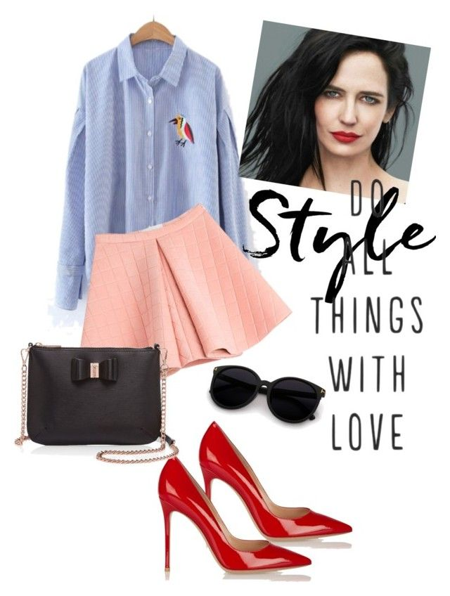 """""""new me"""" by omahtawon ❤ liked on Polyvore featuring beauty, WithChic, Gianvito Rossi, Marina Hoermanseder, Ted Baker, hairtrend and rainbowhair"""