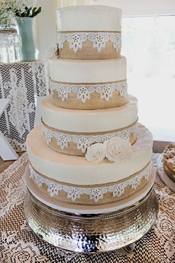 Burlap And Lace Weddings Burlap And Lace Wedding Cake Cakes For