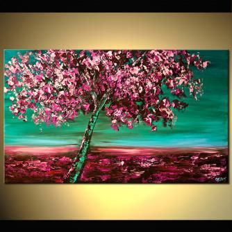 Forest Painting Under The Cherry Blossom Tree With Images Original Abstract Art Painting Abstract Painting Tree Painting