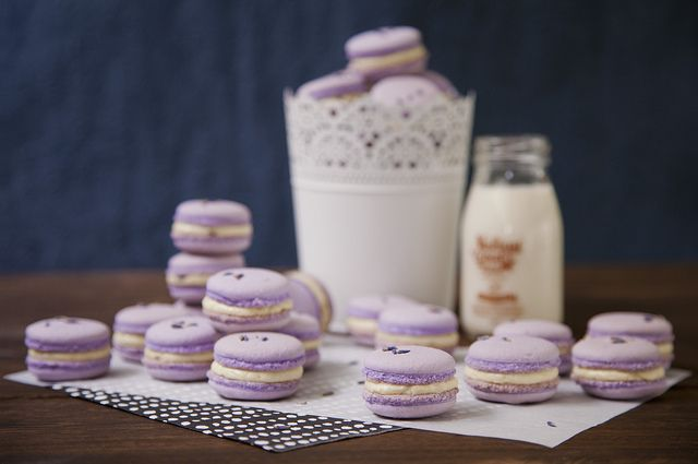 Such a sweet, delicate violet hue at work on this delightful Lavender Honey Buttercream Macarons. #food #foodphotography #cooking #foodie #baking #dessert #macarons #lavender #honey #purple #gorgeous #wedding #milk #entertaining