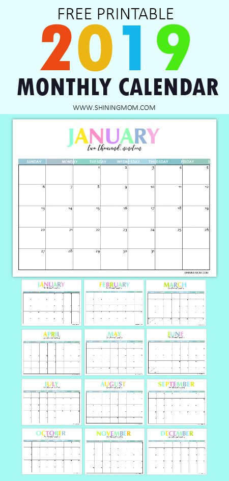 Free Printable 2019 Calendar Beautiful And Colorful Shining Mom