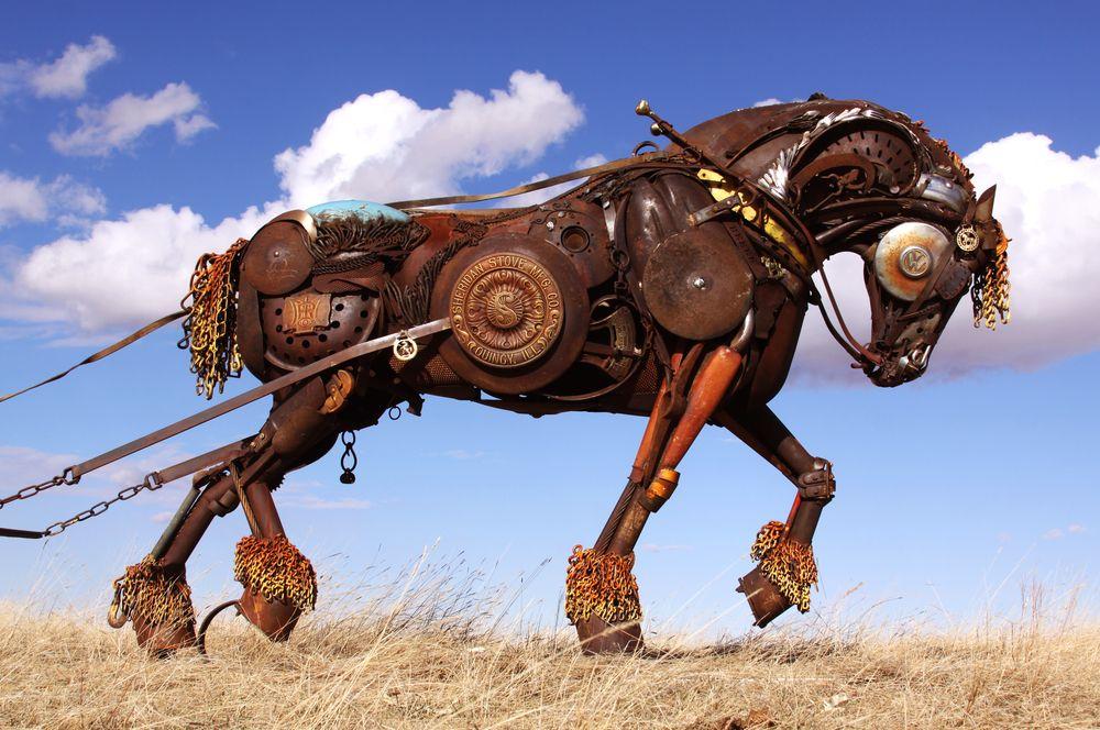 """""""Black Hawk"""" draft horse pulling plow by John Lopez Studio"""
