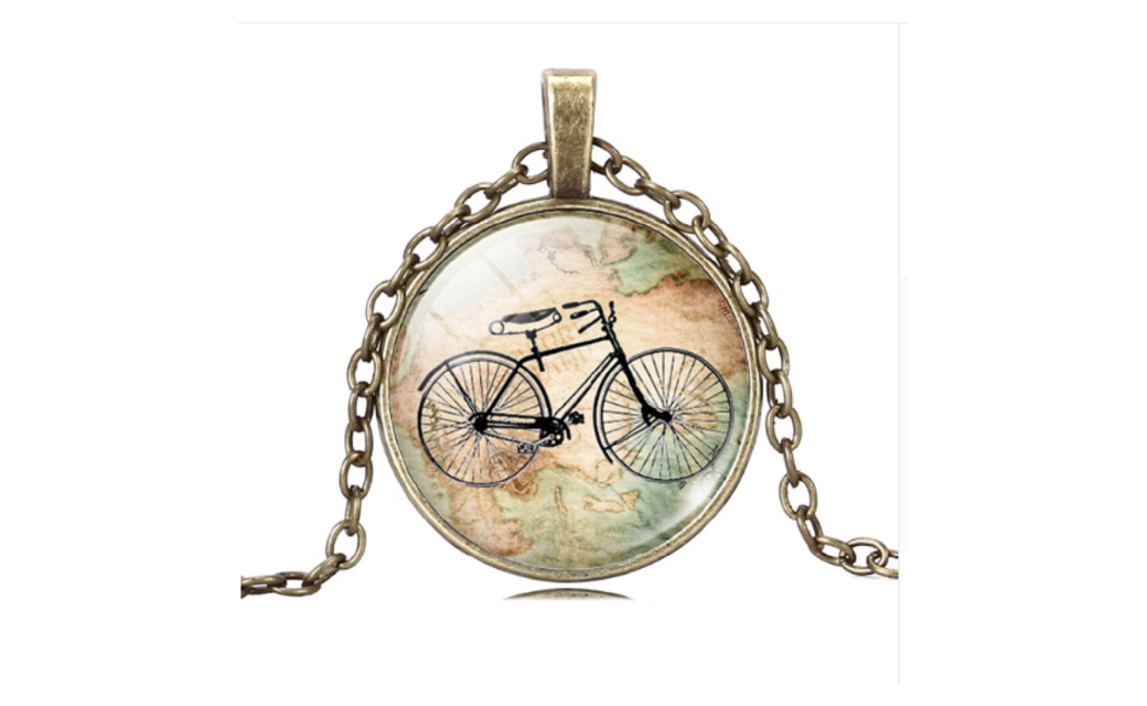Vintage Bicycle Map Glass Cabochon Bronze Necklace