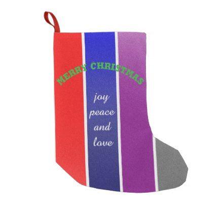 Merry Christmas color modern design Small Christmas Stocking