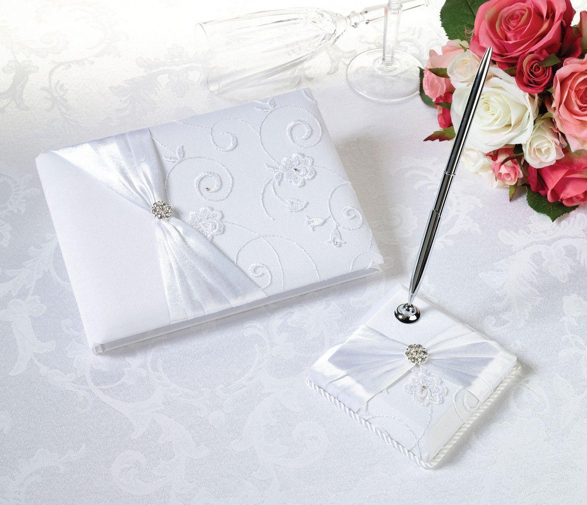 White Lace Wedding Guest Book & Pen Set   Pen sets, White lace and ...
