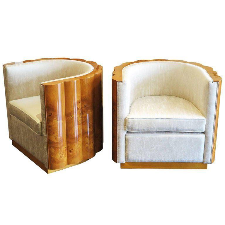 Delicieux Pair Of Elm Burl Barrel Chairs In The Style Of Art Deco 1